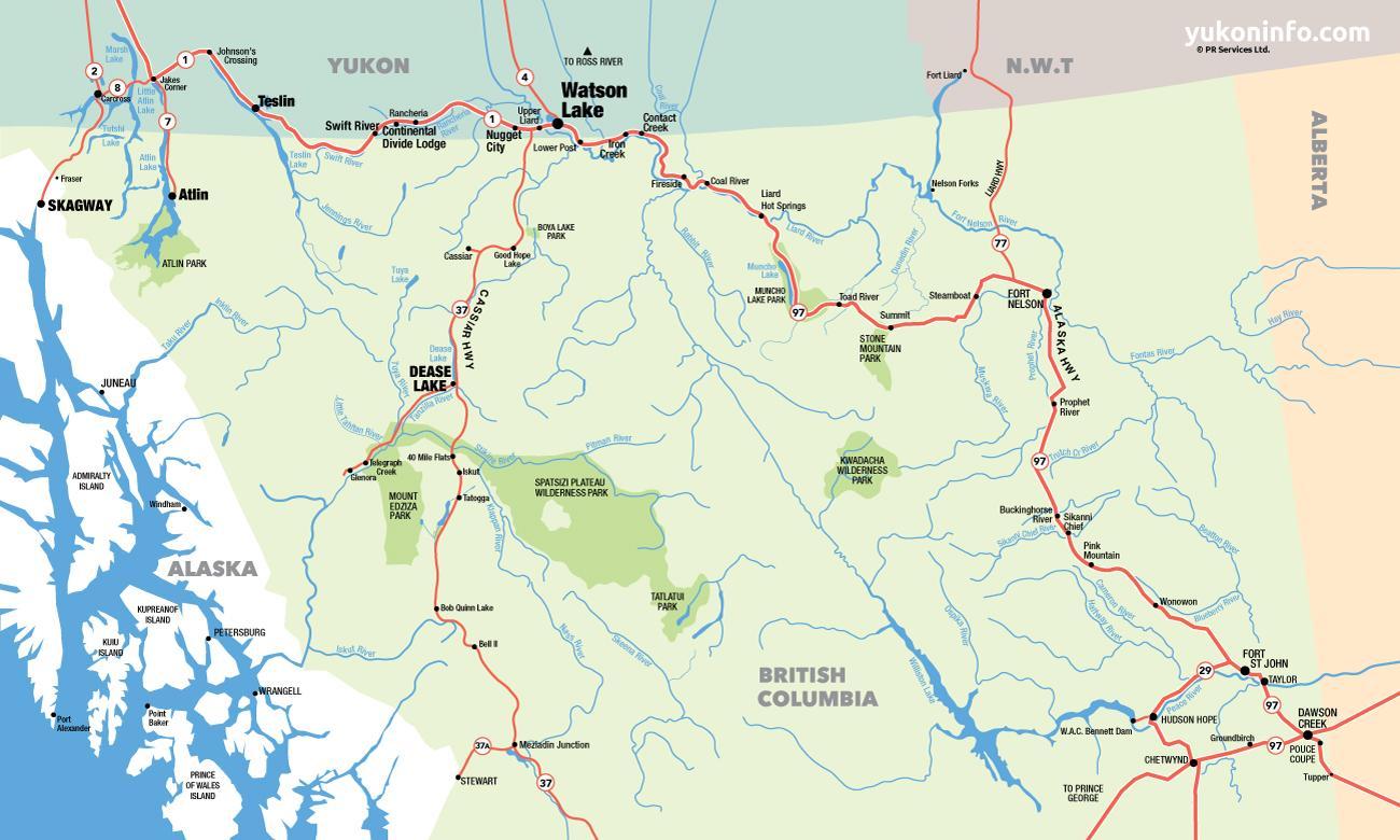 Kort Over Det Sydlige British Columbia Kort Over Det Sydlige