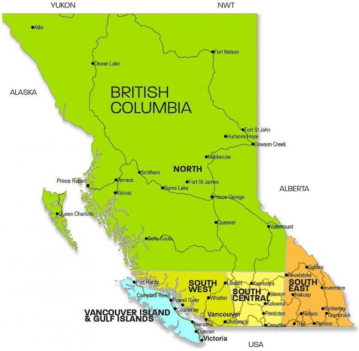 British Columbia Regioner Kort Kort Over British Columbia